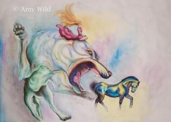 Dog, horse art, fantasy, surreal art